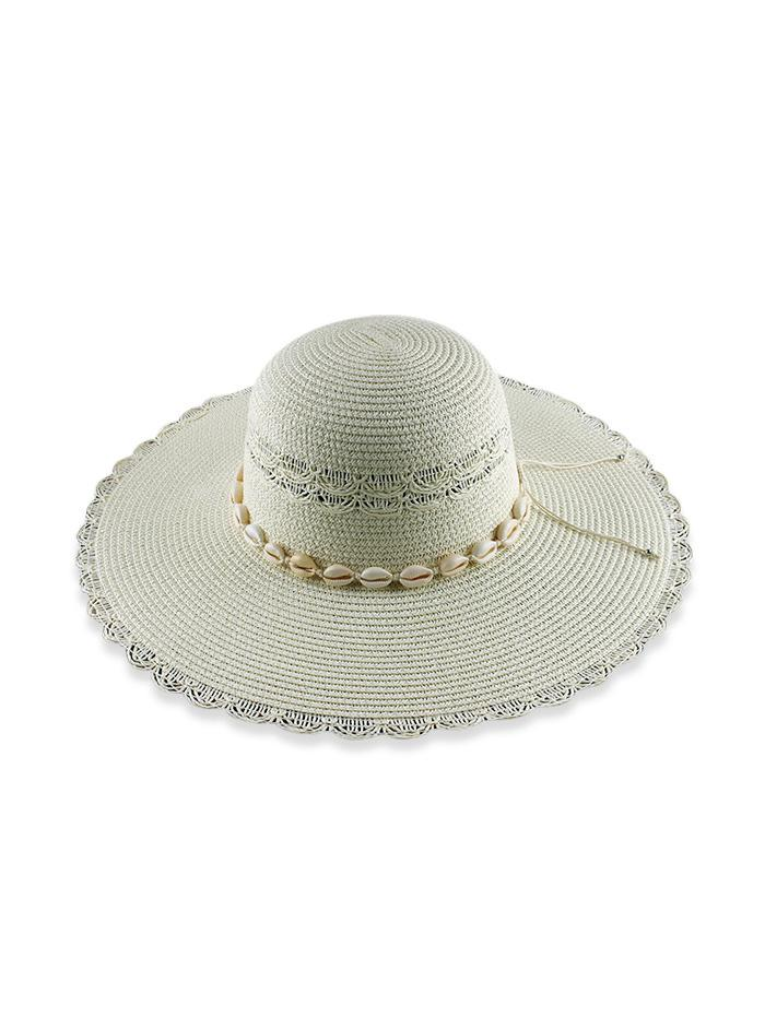 Beach Shells Scalloped Straw Hat