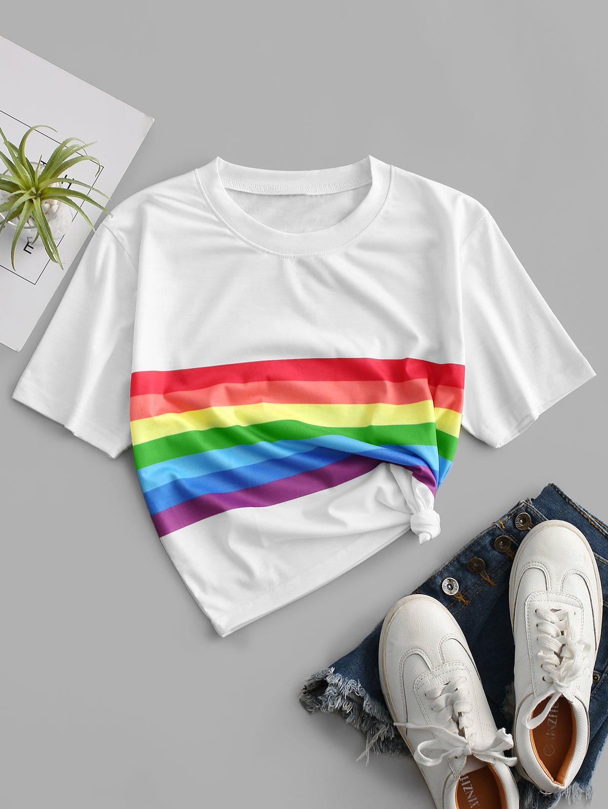 Rainbow Striped Short Sleeves Crop Tee