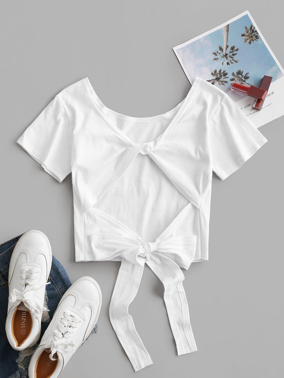 Plain Twist Back Backless Short Sleeve T Shirt