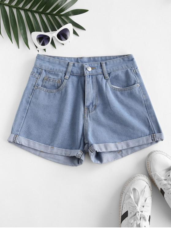 hot High Waisted Cuffed Hem Denim Shorts - JEANS BLUE XL