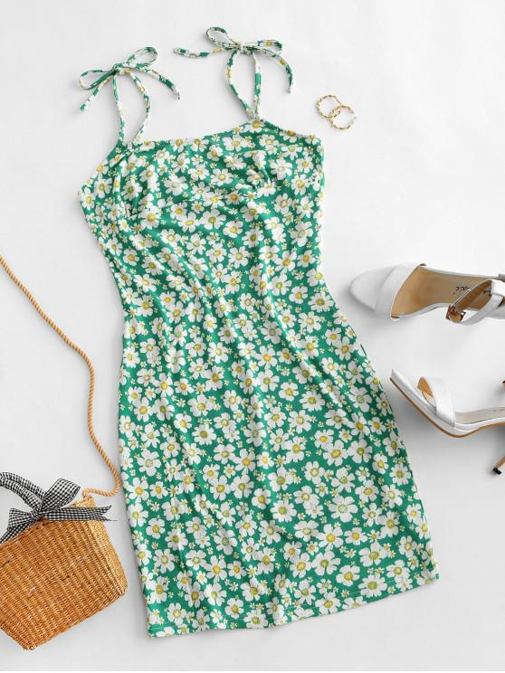 hot Tie Floral Bodycon Dress - GREEN M