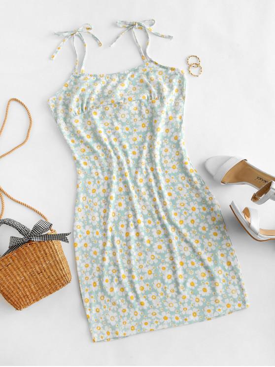 shop Tie Floral Bodycon Dress - LIGHT BLUE S