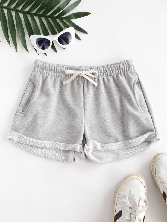 online Pockets Drawstring Cuffed Hem Sweat Shorts - LIGHT GRAY S