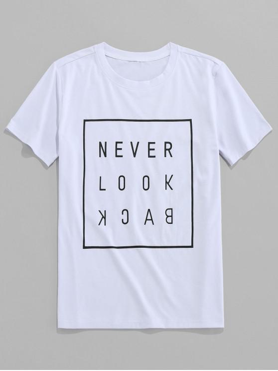 ZAFUL Slogan Buchstabedruck T-Shirt mit Kurzen Ärmeln - Weiß S