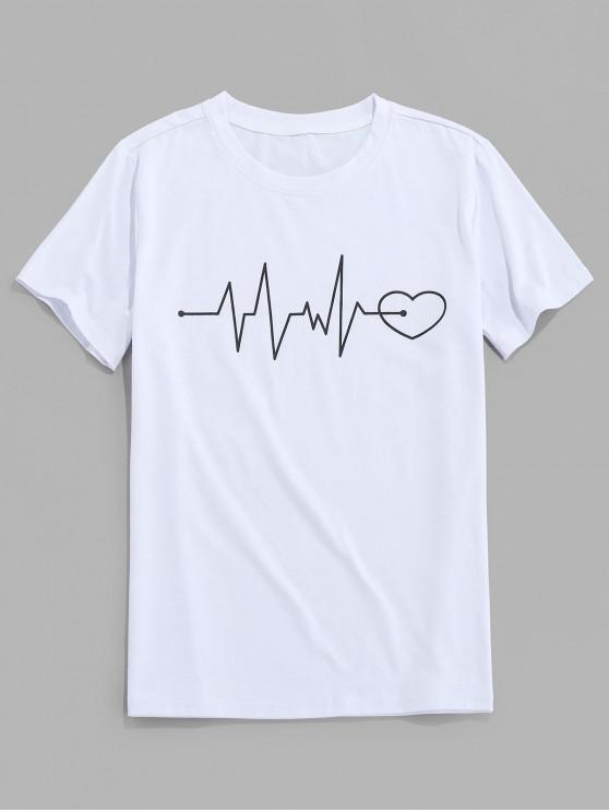 ZAFUL Graphic Heart Print Short Sleeves T-shirt - أبيض 2XL