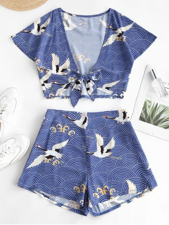 shops ZAFUL Tie Front Cropped Crane Printed Two Piece Set - OCEAN BLUE S