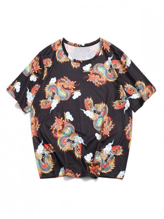 Dragon Clouds Print Oriental T-shirt - أسود M