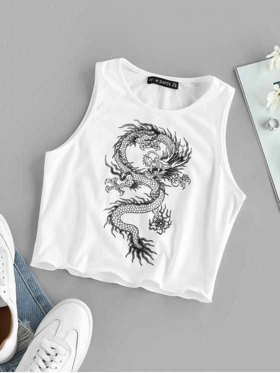 ladies ZAFUL Lettuce-trim Oriental Dragon Print Crop Top - WHITE L