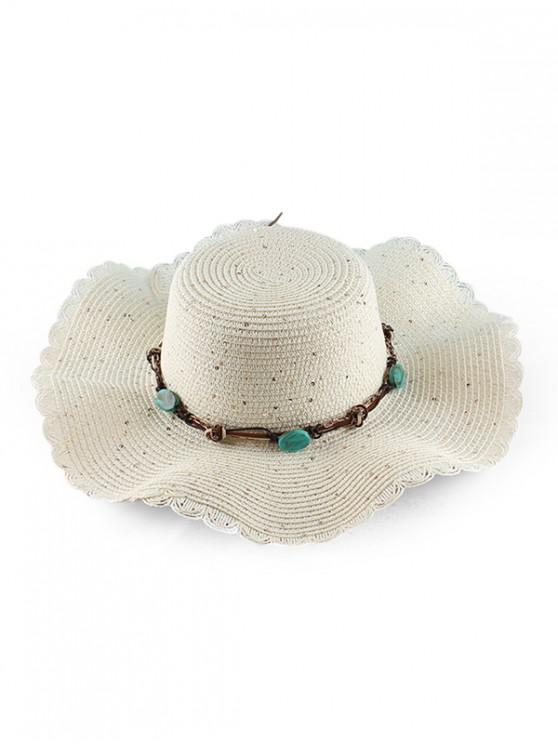 women Wavy Brim Sequins Rope Straw Hat - WHITE