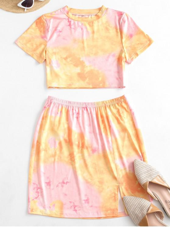 chic Tie Dye Slit Two Piece Dress Set - PINK M