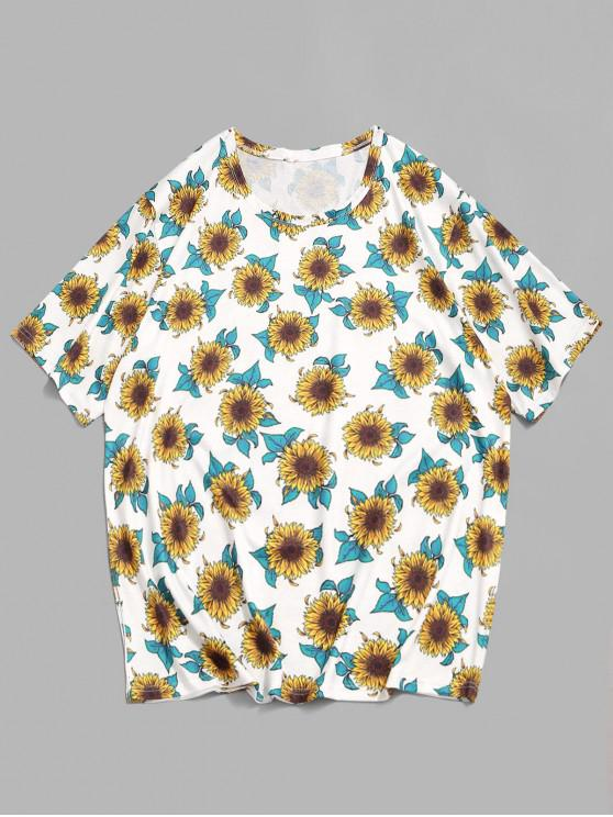 Sunflower Print Casual T-shirt - أبيض 2XL