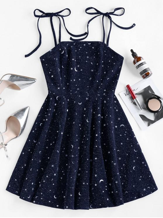 shop ZAFUL Moon Stars Print Tie Shoulder Dress - DEEP BLUE M