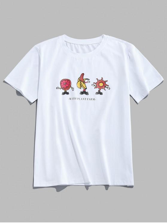 ZAFUL Cartoon Fruit and Sun Print Basic T-shirt - أبيض S