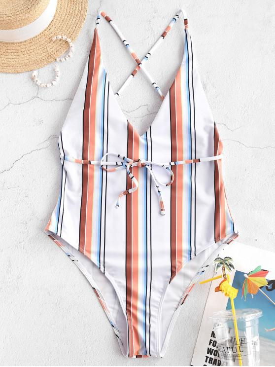 outfit ZAFUL Striped Crisscross Backless One-piece Swimsuit - MULTI-A S