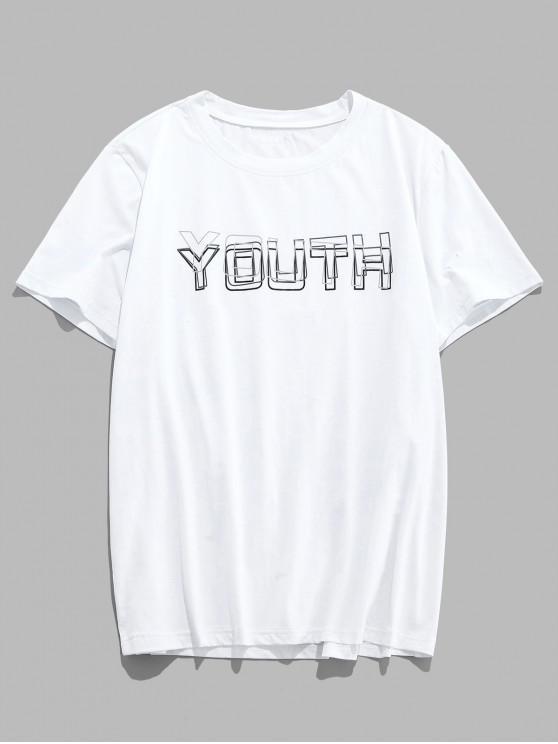 ZAFUL Youth Print Graphic Basic T-shirt - أبيض S