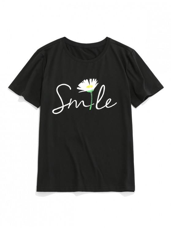 ZAFUL Floral Letter Printed Short Sleeves T-shirt - أسود S