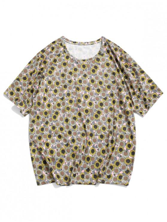 shops Sunflower Print Short Sleeve Casual T-shirt - MULTI-A M