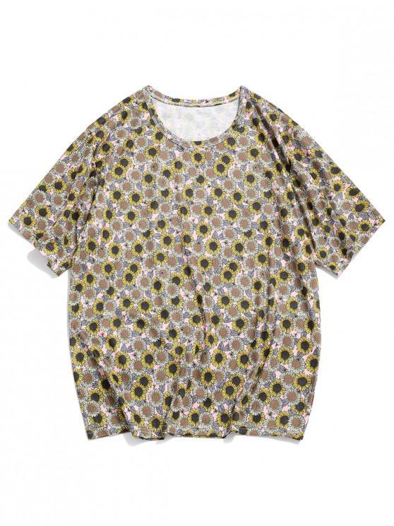 fashion Sunflower Print Short Sleeve Casual T-shirt - MULTI-A 2XL