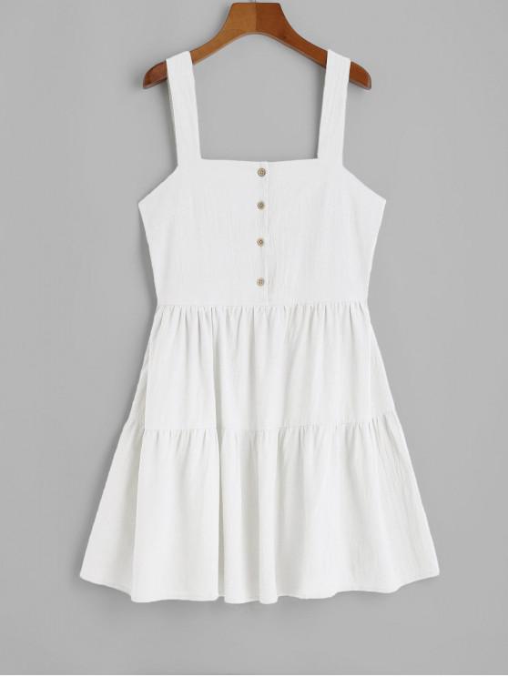 fancy ZAFUL Casual Half Buttoned Straps Mini Dress - WHITE S