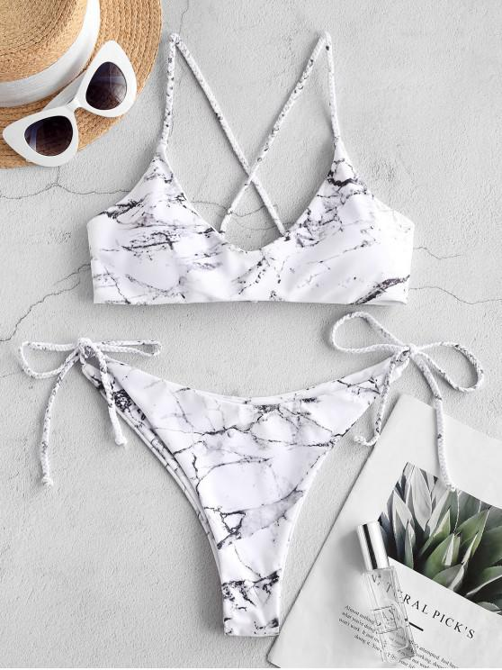ZAFUL Kreuzer und Querer Bikini Badebekleidung mit Marmordruck - Multi-A L