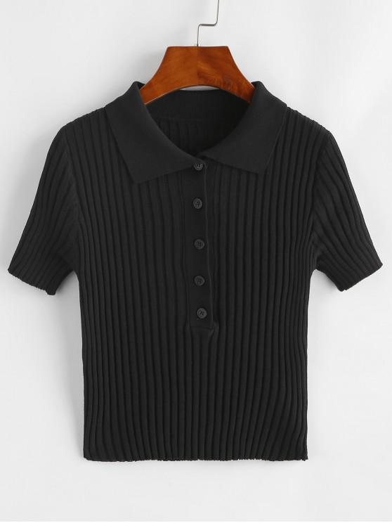Camiseta Acanalada con Manga Larga - Negro Talla única