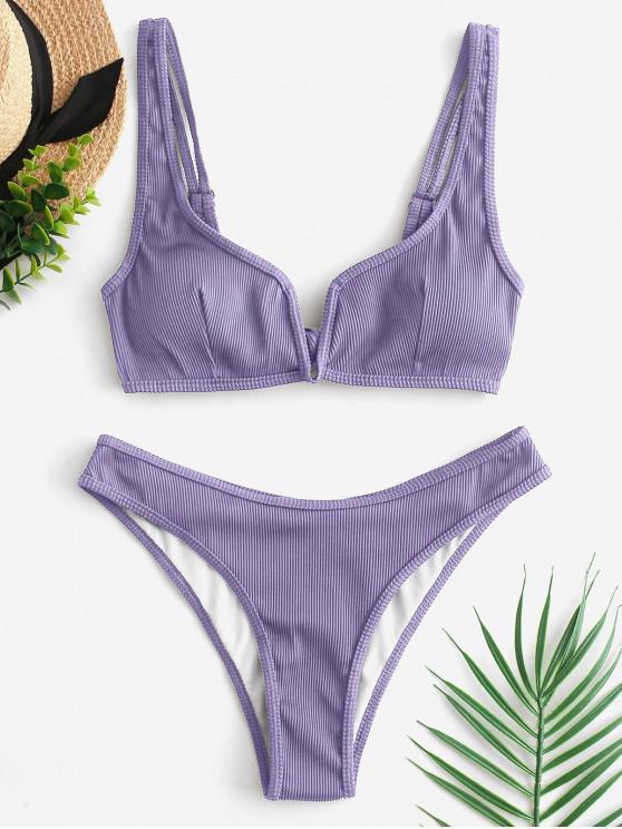 latest ZAFUL Piping V-wired Ribbed Bikini Swimsuit - MAUVE S