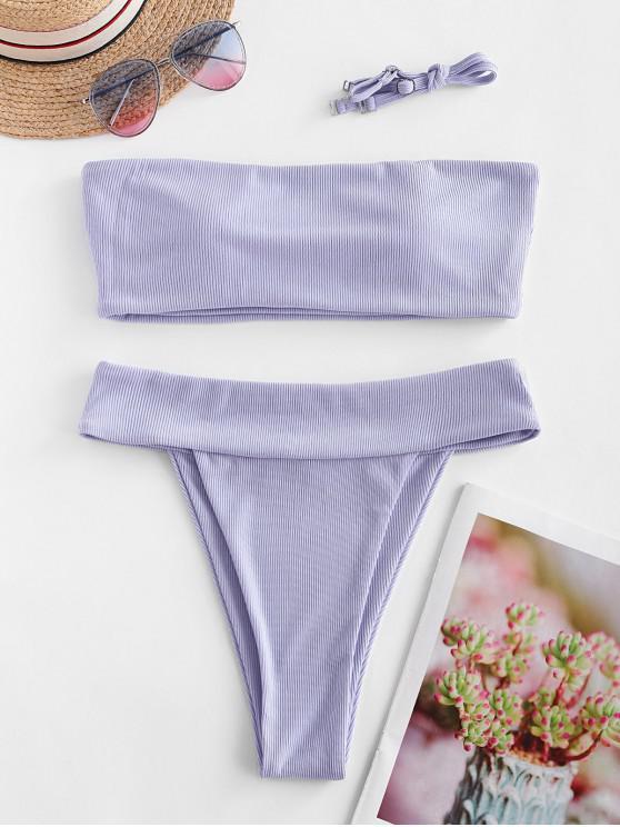 ZAFUL pețiol ridicat Leg bandeau Bikini Costume de baie - Lavanda albastră M