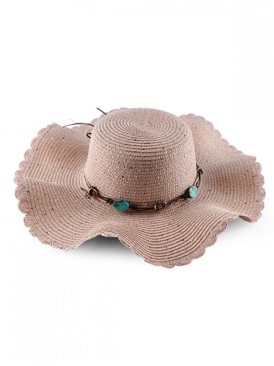 womens Wavy Brim Sequins Rope Straw Hat - PINK
