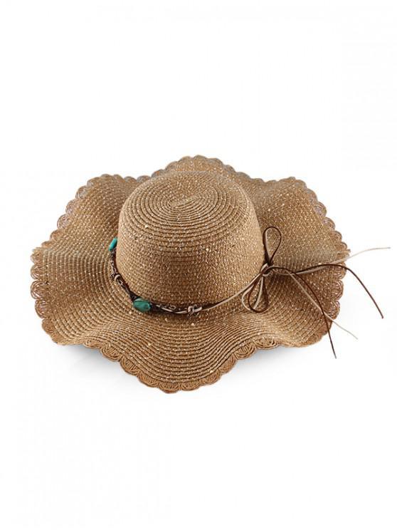 women's Wavy Brim Sequins Rope Straw Hat - COFFEE