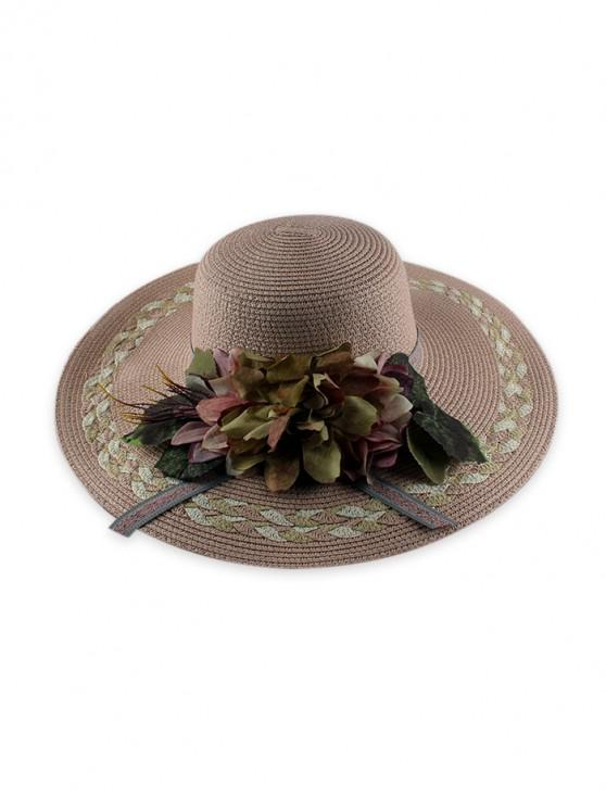 lady Wide Brimmed Flowers Straw Hat - PINK