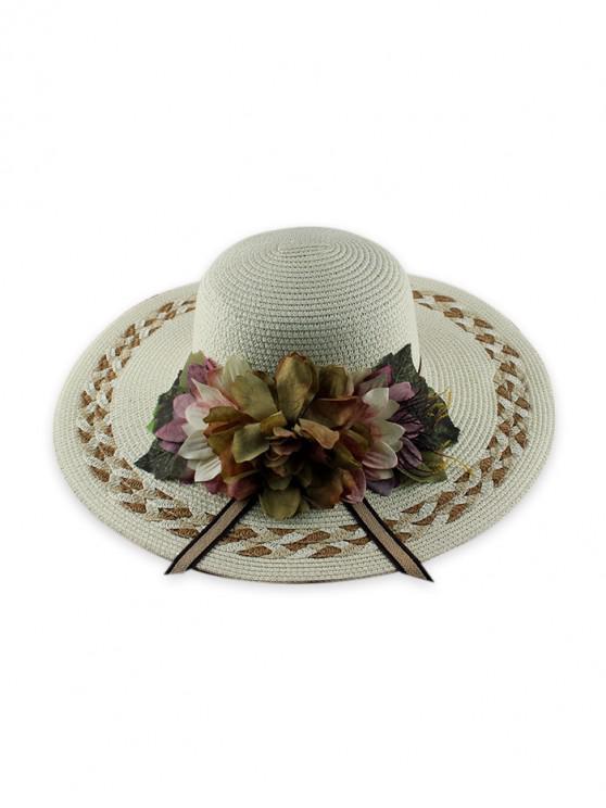 best Wide Brimmed Flowers Straw Hat - WHITE