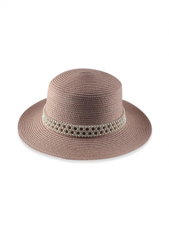 outfits Faux Pearl Beach Straw Hat - PINK