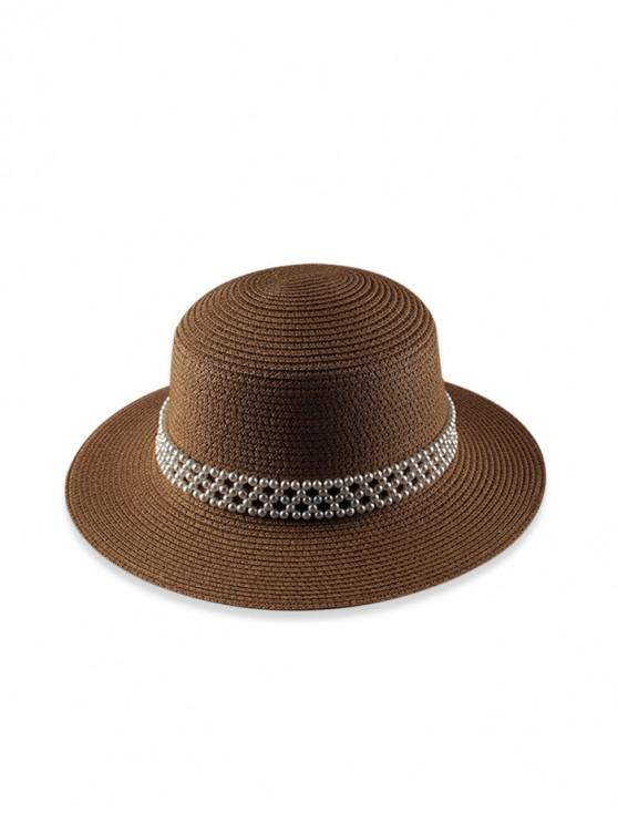 latest Faux Pearl Beach Straw Hat - BROWN