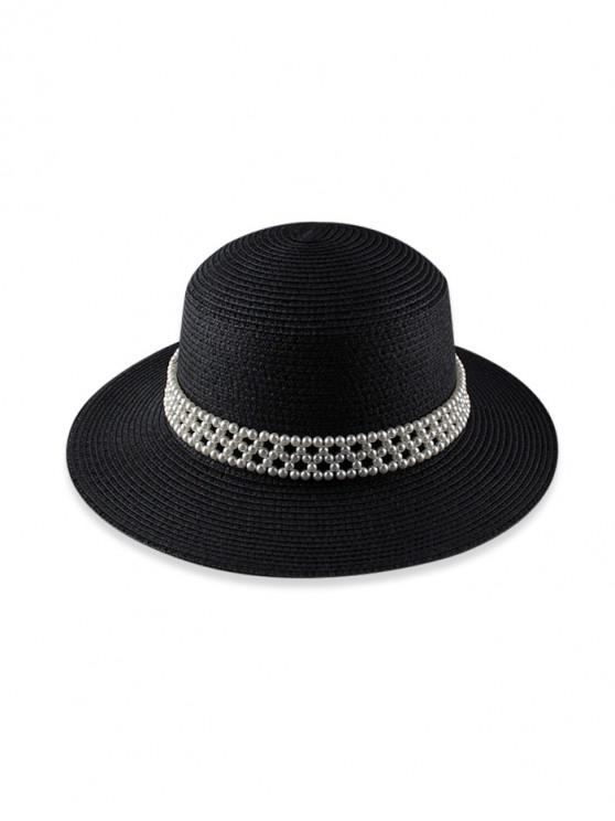 trendy Faux Pearl Beach Straw Hat - BLACK