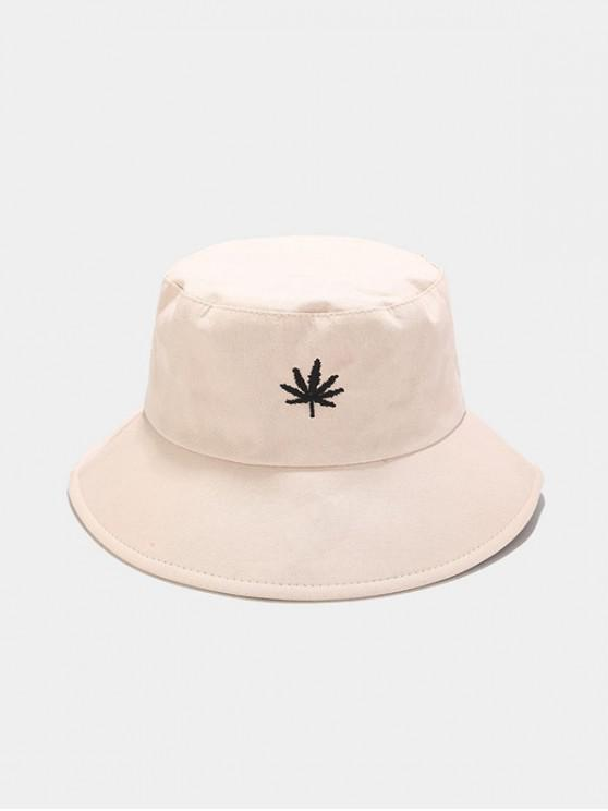 outfit Maple Leaf Embroidered Bucket Hat - BEIGE