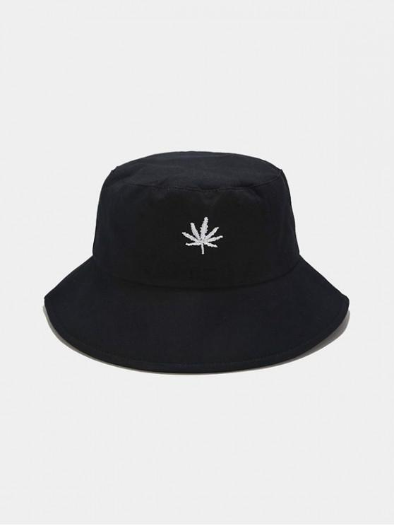 Maple Leaf Brodate Bucket Hat - Negru