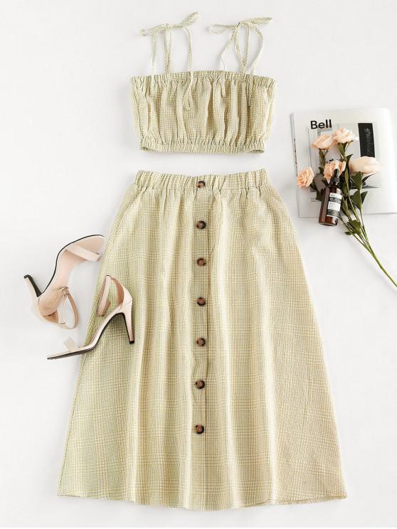 ladies ZAFUL Plaid Tie Shoulder Midi Two Piece Dress - CORNSILK XL