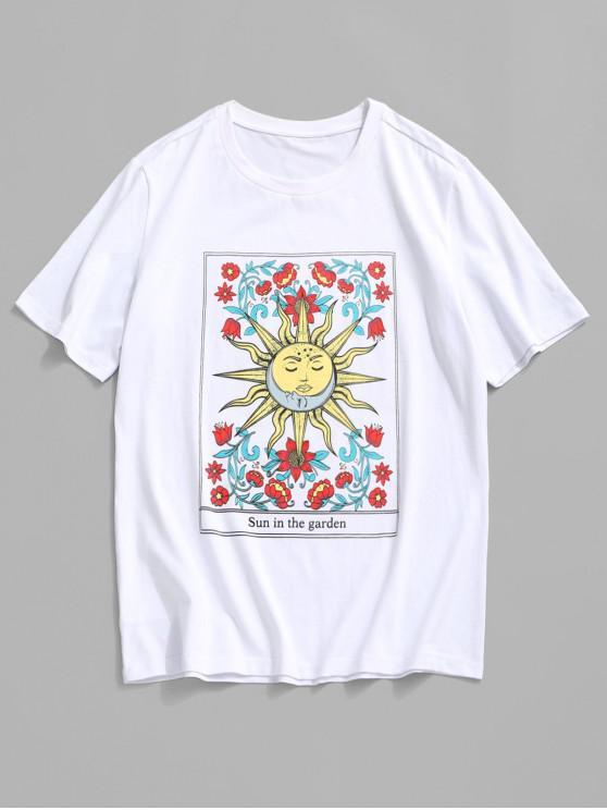 ZAFUL Cartoon Sun Flower Graphic Basic T-shirt - أبيض 2XL
