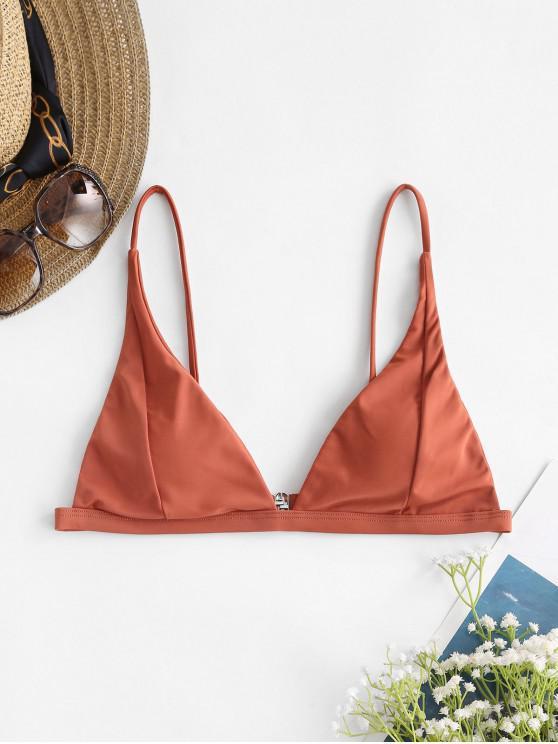 ZAFUL Basic Plunge Bikini Top - شوكولاتة S