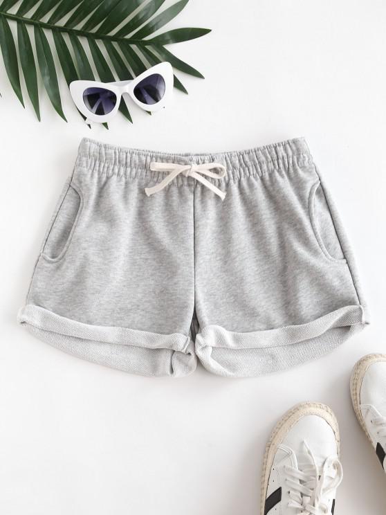 fancy Pockets Drawstring Cuffed Hem Sweat Shorts - LIGHT GRAY XL