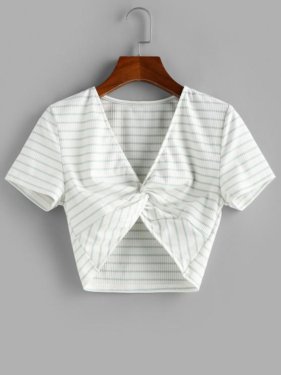 outfits ZAFUL Stripe Twist Front Crop Tee - LIGHT GREEN L