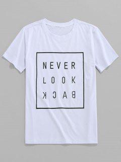 ZAFUL Slogan Letter Printed Short Sleeves T-shirt - White Xl