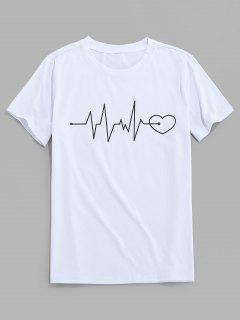 ZAFUL Graphic Heart Print Short Sleeves T-shirt - White S
