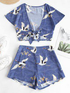 ZAFUL Tie Front Cropped Crane Printed Two Piece Set - Ocean Blue S