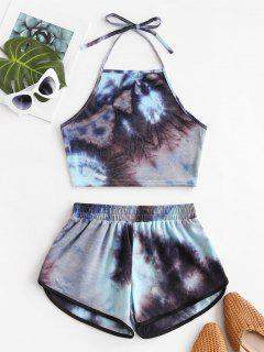 Two Piece Halter Tie Dye Dolphin Shorts Set - Multi-a S