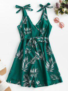 Tie Leaf Print Surplice Romper - Green S