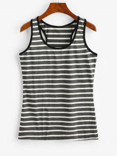 Stripes Muscle Ringer Tank Top - Carbon Gray M