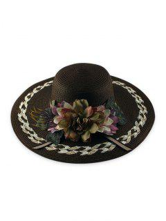 Wide Brimmed Flowers Straw Hat - Brown