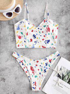 ZAFUL Paint Splatter Ribbed Tankini Swimwear - Multi-a M