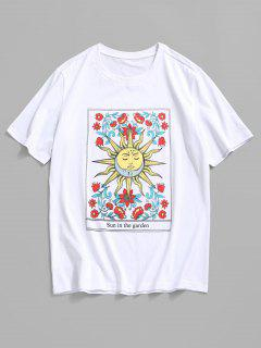 ZAFUL Cartoon Sun Flower Graphic Basic T-shirt - White 2xl